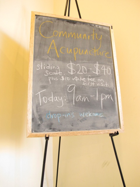 Community Acupuncture Chalkboard with sliding scale