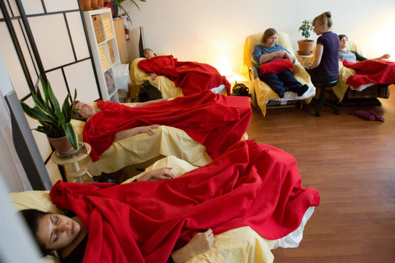 Half room with punks needling patients